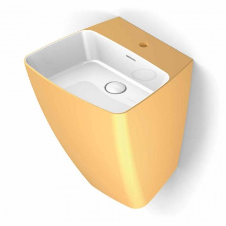 Modern-design wall sink in pottery made in Italy, Goran