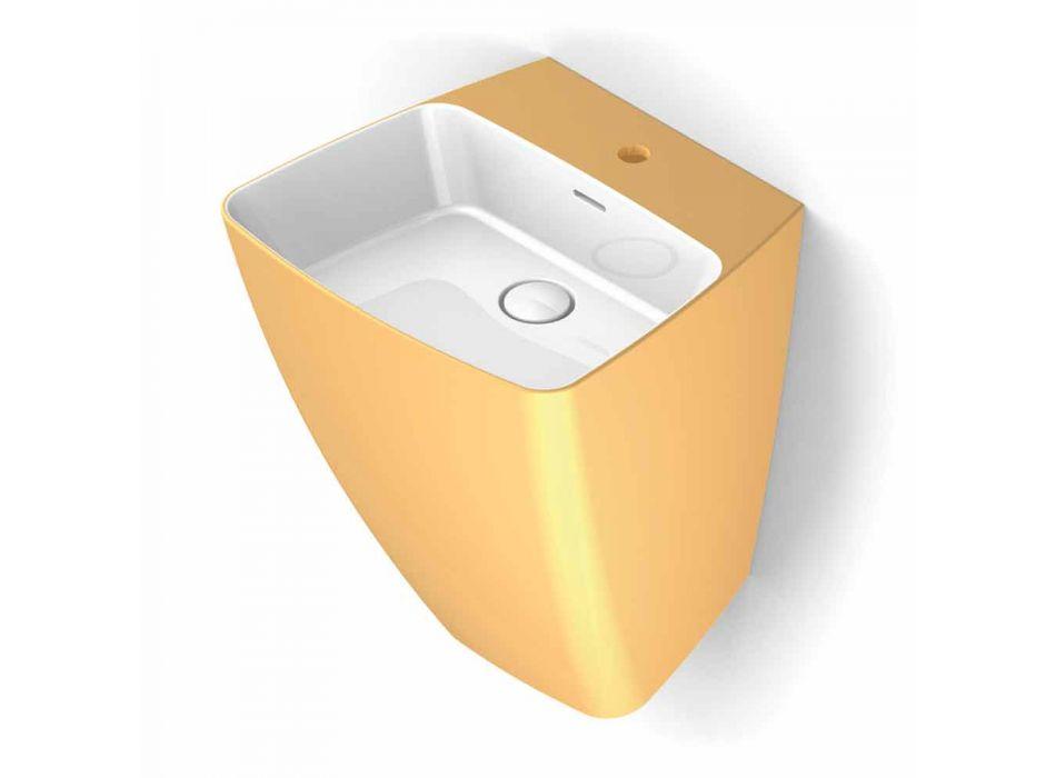 Modern design wall-mounted ceramic washbasin made in Italy, Goran