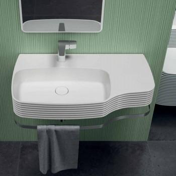 Modern ceramic wall-mounted washbasin made in Italy, Hamlet