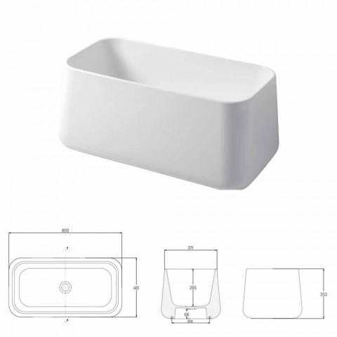 High Modern Countertop Washbasin in Made in Italy Ceramic Oliena