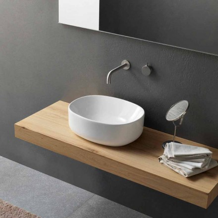 Modern Design Oval Countertop Washbasin in White Ceramic - Ventori2