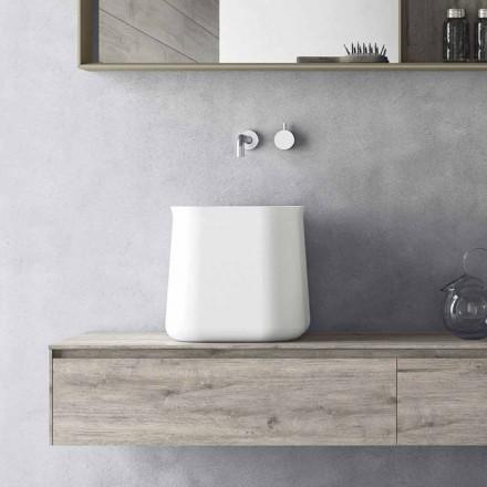 High Square Modern Design Countertop Washbasin in White Resin - Tulyp