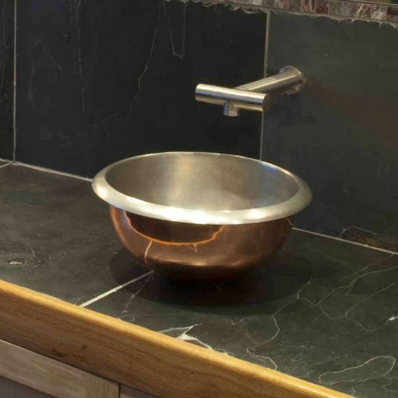 Copper design washbasin with Pure nickel finish