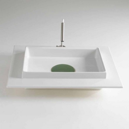 White Ceramic Rectangular Countertop Washbasin with Colored Cover - Voltino