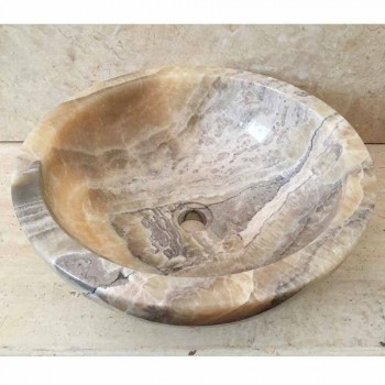 Countertop washbasin in natural onyx stone Ana, handmade