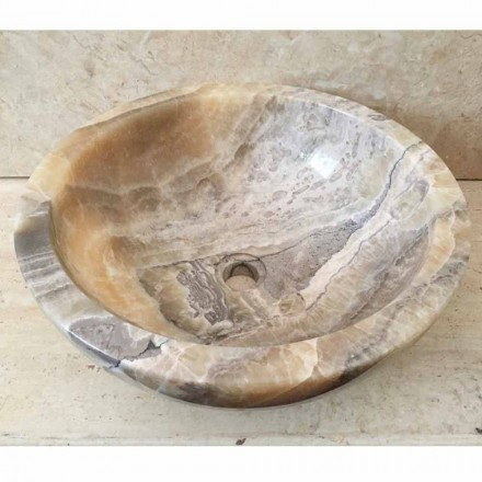 Bathroom countertop washbasin made of natural onyx stone Ana, handmade