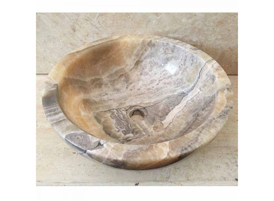 Countertop washbasin in natural onyx stone Ana, handmade