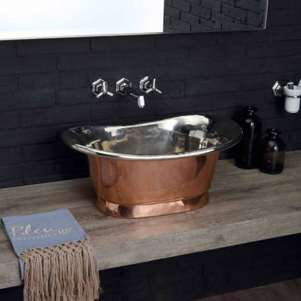 Countertop washbasin made of copper with white iron finish Calla
