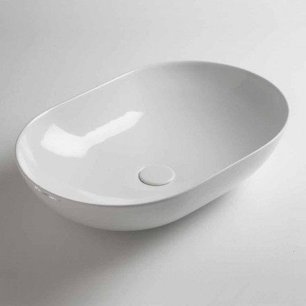 Oval Countertop Washbasin in Colored Ceramic Made in Italy - Chain