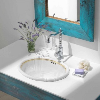 Recessed bathroom sink in porcelain and gold made in Italy, Santiago
