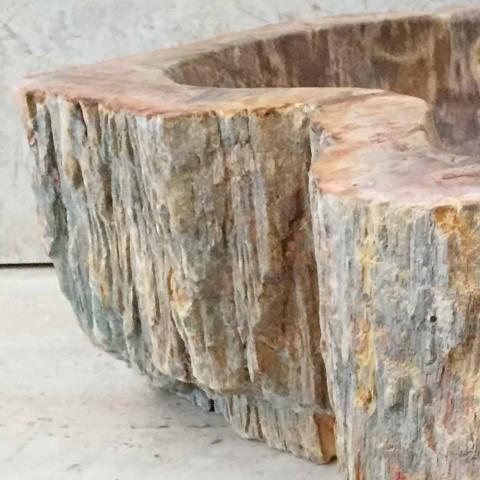 Design bathroom sink in fossil wood Star mini, unique piece