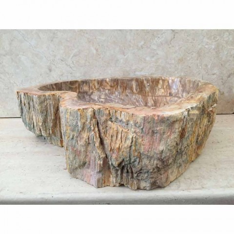 Design bathroom sink in fossil wood Star mini, unique piece