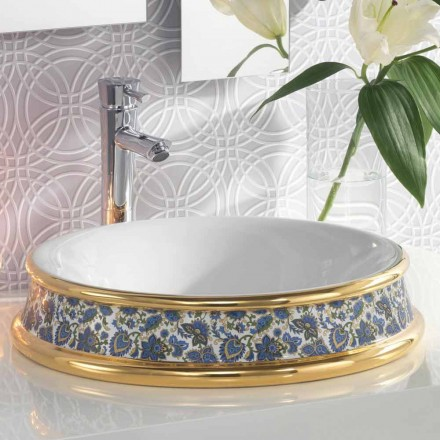 Semi-recessed bathroom sink in fire clay/24k gold made in Italy,Manilo