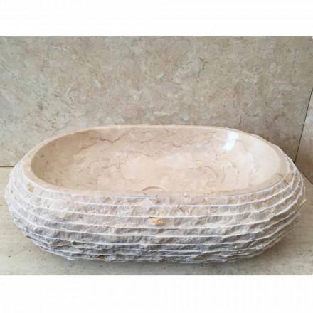 White natural stone countertop basin Cora, handcrafted unique  piece