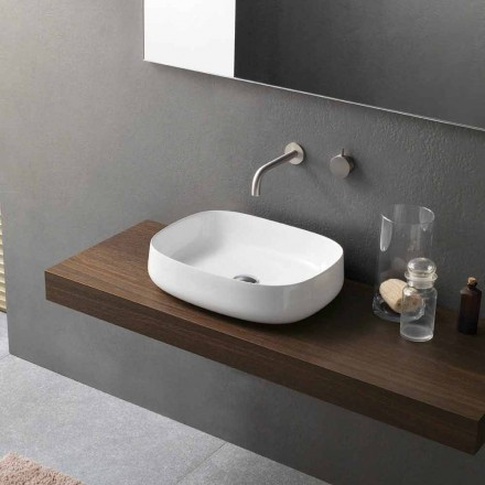 Modern Design White Countertop Ceramic Washbasin Made in Italy - Tune2