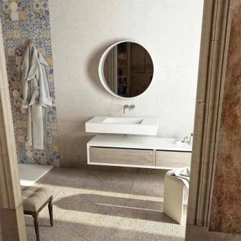 Central washbasin with design bathroom top made in Italy Gemona