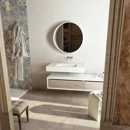 Top with integrated central sink for bathroom Gemona, made in Italy