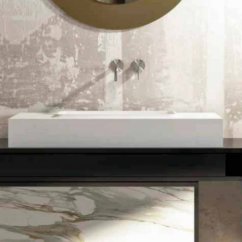 Central washbasin and design bathroom top made in Italy Voghera