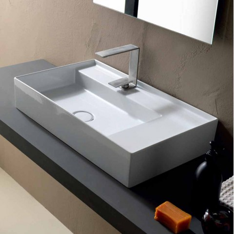 Modern Design Ceramic 65x40 Cm Countertop Washbasin Made In Italy Sun
