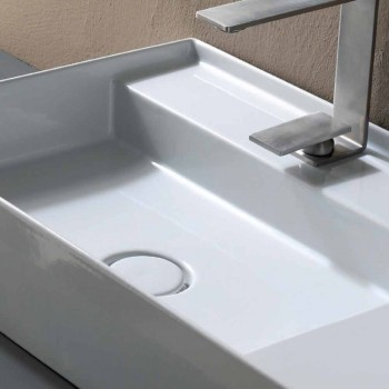Ceramic washbasin countertop modern design made in Italy Sun 65x40 cm