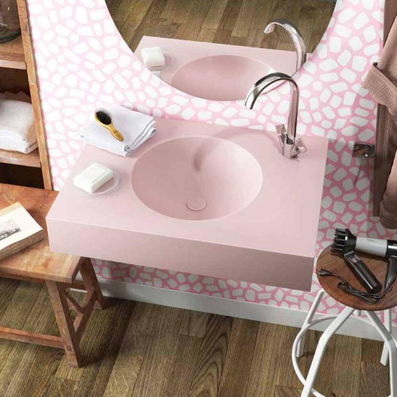 Circular pendant sink in pink Luxolid made in Italy, Ruffano