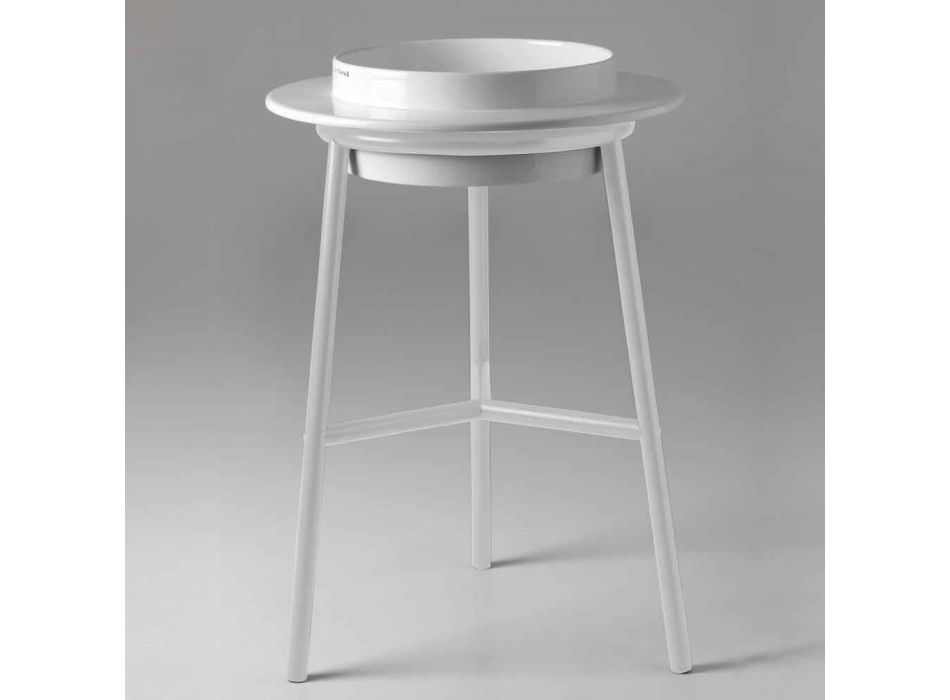 Circular Ceramic Washbasin with Metal Structure Made in Italy - Voltino