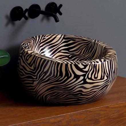Modern circular countertop washbasin in ceramic made in Italy Elisa