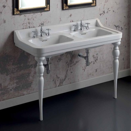 Classic ceramic double sink washbasin console, made in Italy, Swami