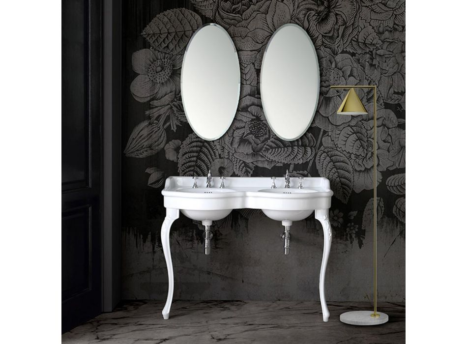 Classic Console Washbasin in White Ceramic Made in Italy - Magda