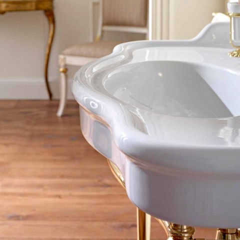 Consolle Washbasin with Double Bowl on Ceramic Feet, Made in Italy - Paulina