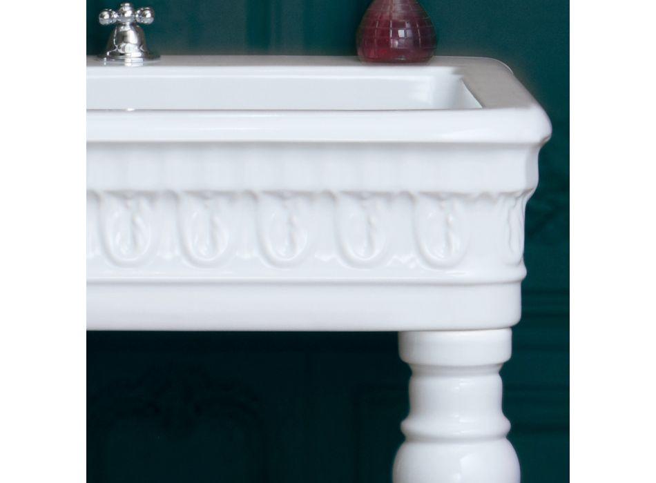 Console Washbasin in White Ceramic Made in Italy Classic Design - Areta