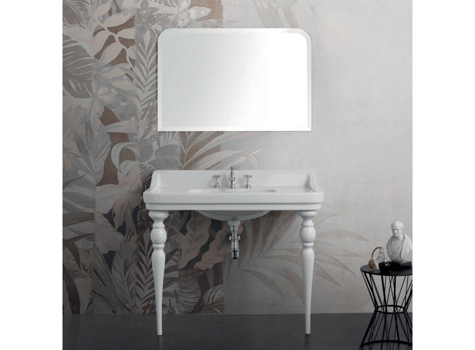 Console Washbasin in White Ceramic Made in Italy Classic Style - Wollie