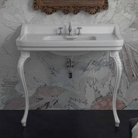 Classic Italian design console washbasin in white ceramic, Swami