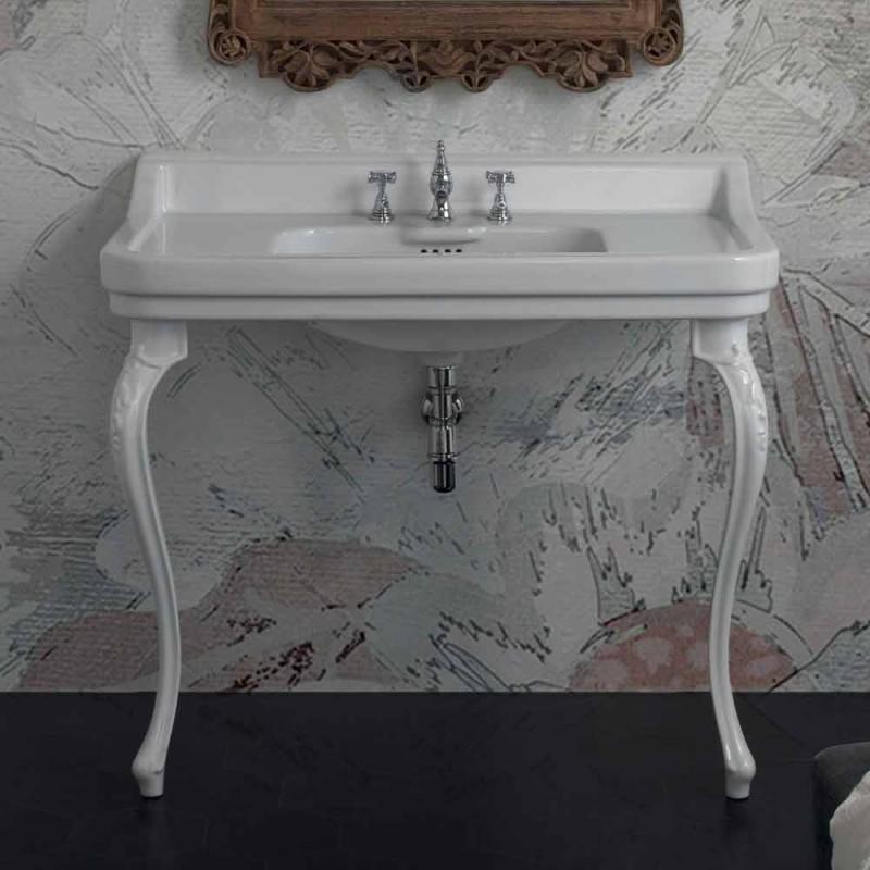 Console washbasin in white ceramic of classic Italian design, Swami