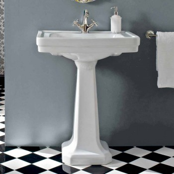Console Wash Basin on Vintage Column in Ceramic Made in Italy - Marwa