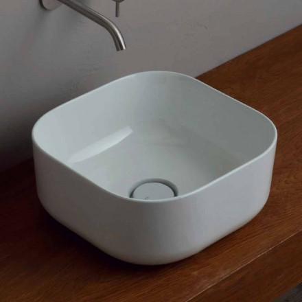 Modern design 37x37cm ceramic countertop washbasin made in Italy Star
