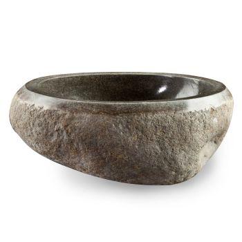 Artisan Countertop Washbasin in Modern River Natural Stone - Aurea