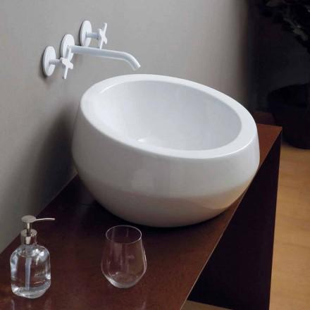 Round ceramic countertop basin Elisa, made in Italy