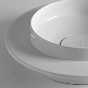 Circular Countertop Washbasin in Colored Ceramic Made in Italy - Voltino