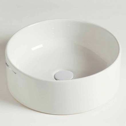 Modern Circular Countertop Washbasin in Ceramic Made in Italy - Rotolino