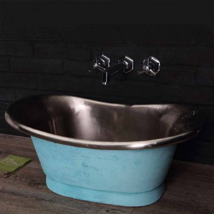 Countertop wash basin made of copper with white iron finish Calla
