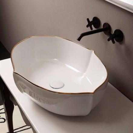 White ceramic countertop basin Oscar with golden edge, made in Italy