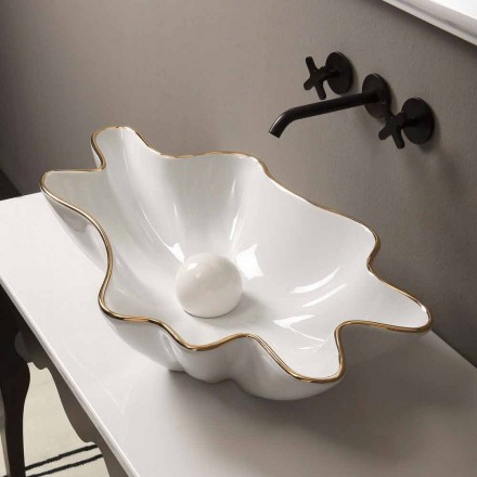Modern white ceramic countertop basin Rayan gold edge, made in Italy