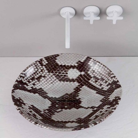 Modern ceramic countertop sink Animals, cobra pattern, made in Italy