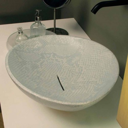 White ceramic countertop Animals with snakeskin pattern, made in Italy