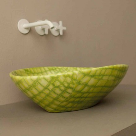 Green ceramic countertop Animals with snakeskin pattern, made in Italy