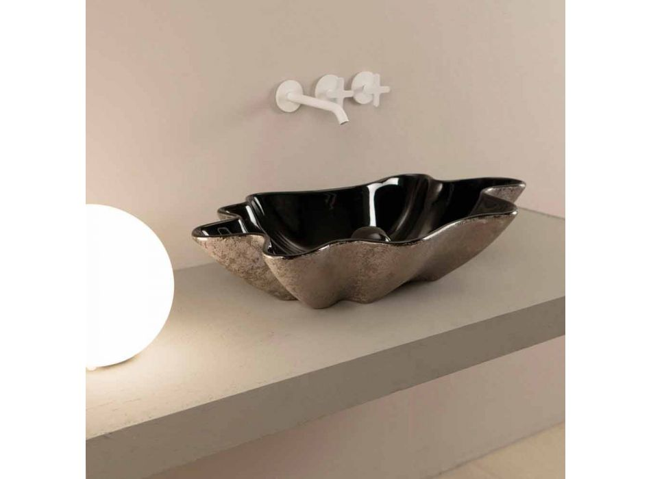 Countertop washbasin in black and silver ceramic design made in Italy Rayan