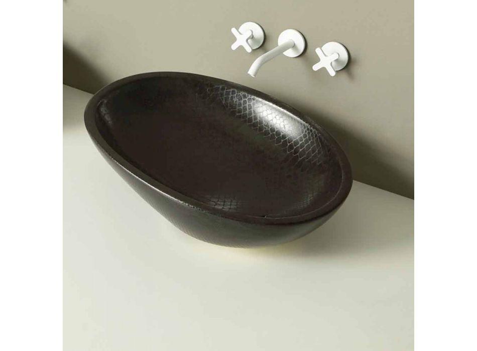 Countertop design ceramic black python washbasin made in Italy Glossy