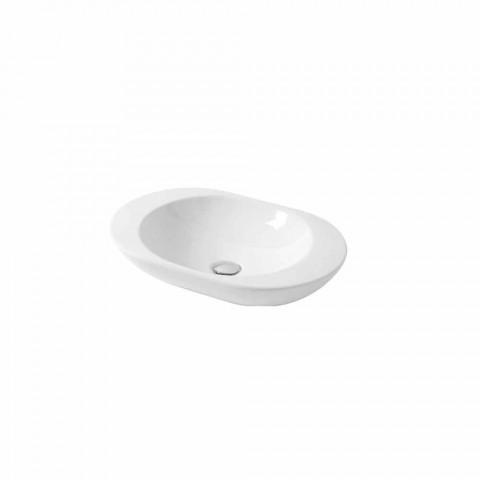 Design Countertop Washbasin in White or Melle Colored Ceramic