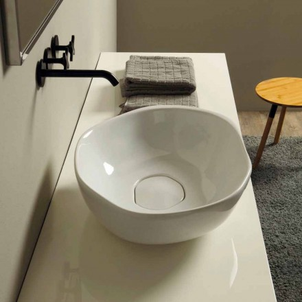 Modern design ceramic countertop basin Stelo, made in Italy